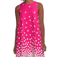 Spot Shaded 240816 - White and Neon Red A-Line Dress