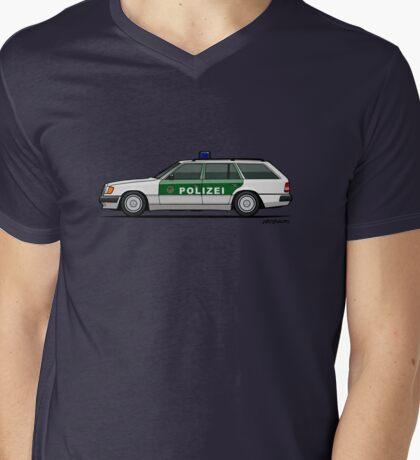 Mercedes Benz W124 300TE Wagon German Police Mens V-Neck T-Shirt