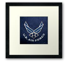 U.S. Air Force - USAF Logo 3D on Blue Velvet Framed Print