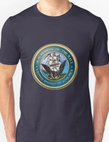 U.S. Navy - USN Emblem 3D on Blue Velvet T-Shirt