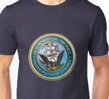 U.S. Navy - USN Emblem 3D on Blue Velvet Unisex T-Shirt