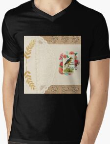 Vintage collage,lace,gold leafs,floral,flowers,burlap,white,beige,small flower hearts Mens V-Neck T-Shirt