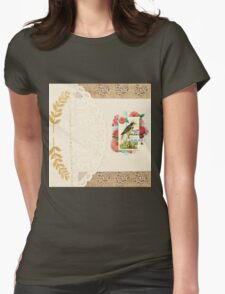 Vintage collage,lace,gold leafs,floral,flowers,burlap,white,beige,small flower hearts Womens Fitted T-Shirt