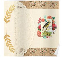 Vintage collage,lace,gold leafs,floral,flowers,burlap,white,beige,small flower hearts Poster