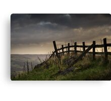 A fence at Mam Tor, in Peak District, England Canvas Print