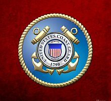 U.S. Coast Guard - USCG Emblem 3D on Red Velvet by Serge Averbukh