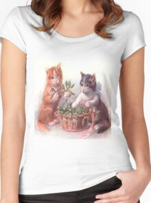 Cute vintage cats,playing with flowers,reproduction,old,victorian era, Women's Fitted Scoop T-Shirt