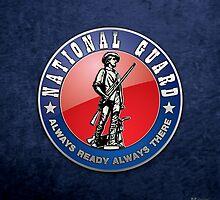 US National Guard (NG) Emblem 3D on Blue Velvet by Captain7
