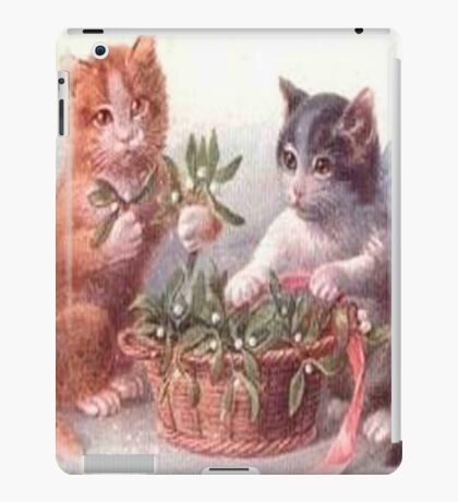 Cute vintage cats,playing with flowers,reproduction,old,victorian era, iPad Case/Skin