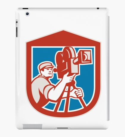 Cameraman Vintage Film Movie Camera Shield Retro iPad Case/Skin
