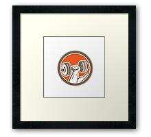 Hand Lifting Dumbbell Circle Retro Framed Print