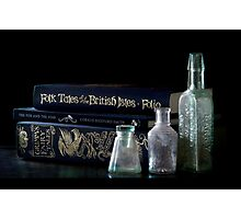 Blue Books and Bottles Photographic Print
