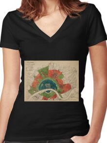 Map Of Cologne 1905 Women's Fitted V-Neck T-Shirt