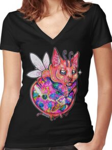 Fairy Cat Women's Fitted V-Neck T-Shirt