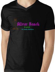 Silver Beach Mens V-Neck T-Shirt