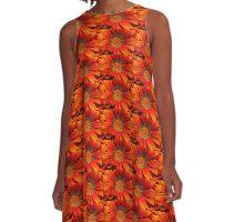 Macro capture of Orange Zinnia flower A-Line Dress
