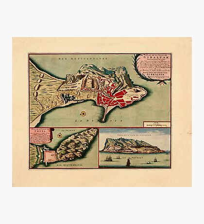 Map Of Gibraltar 1706 Photographic Print