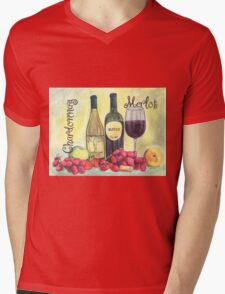 Watercolor Wine Mens V-Neck T-Shirt