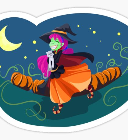 Happy Witch w/Kitty Sticker