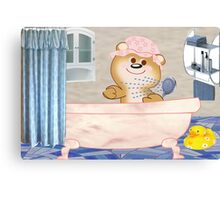 Teddy in the bath tub (4889 Views) Canvas Print