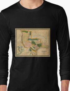 Map Of Texas 1834 Long Sleeve T-Shirt