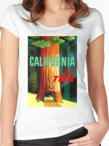 """TWA AIRLINES"" Fly to California Advertising Print Women's Fitted Scoop T-Shirt"