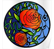 Red Roses Digital Stained Glass Poster
