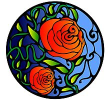 Red Roses Digital Stained Glass Photographic Print