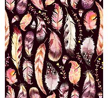 Boho Feather & Floral Pattern Photographic Print