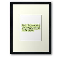 The Fault in Our Stars Green Pain Quote Framed Print