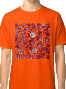 Climbing Roses red and pink mirror pattern  Classic T-Shirt