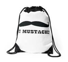 Hey Mustache Drawstring Bag