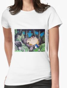 Nap Time with Totoro Womens Fitted T-Shirt