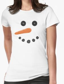 Happy Holiday carrot nose button eyes Cute Snowman Womens Fitted T-Shirt