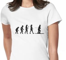Skiing Evolution Funny Women's T Shirt Womens Fitted T-Shirt