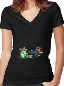 ~ Mario & Yoshi ~ Women's Fitted V-Neck T-Shirt