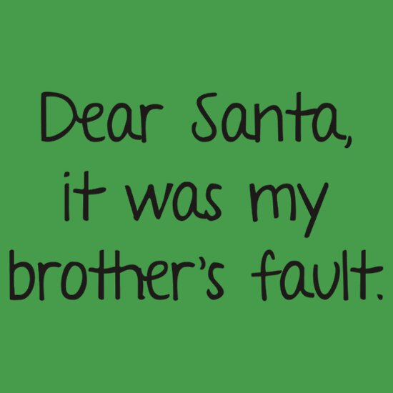 Quot Dear Santa It Was My Brother S Fault Quot T Shirts Amp Hoodies
