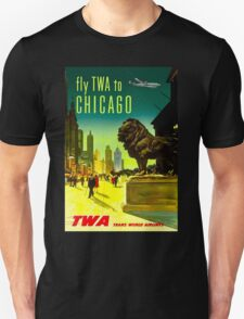 """""""TWA AIRLINES"""" Fly to Chicago Advertising Print Unisex T-Shirt"""