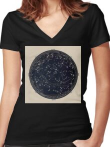 Antique Map of the Night Sky, 19th century astronomy Women's Fitted V-Neck T-Shirt