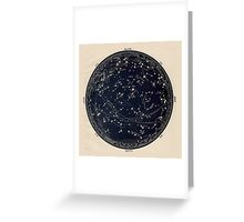 Antique Map of the Night Sky, 19th century astronomy Greeting Card