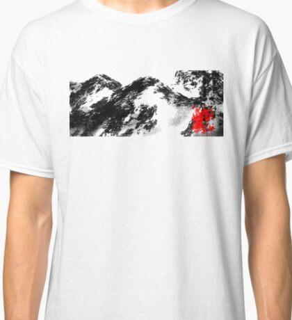 Japanese snow mountain scene Classic T-Shirt