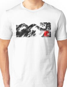 Japanese snow mountain scene Unisex T-Shirt