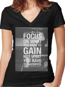 Focus On What You Have To Gain Women's Fitted V-Neck T-Shirt