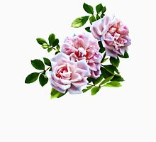 Three Pink Roses With Leaves Womens Fitted T-Shirt