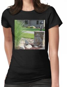 Possibly the best bush ever next to an outdoor reading lamp Womens Fitted T-Shirt