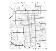 Springfield Map, USA - Black and White Photographic Print