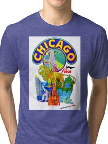 """""""TWA AIRLINES"""" Fly to Chicago Advertising Print Tri-blend T-Shirt"""