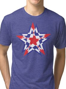 STAR WORLD RED BLUE WHITE Tri-blend T-Shirt