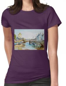 Ebb tide in Castletown Harbour, Isle of Man Womens Fitted T-Shirt