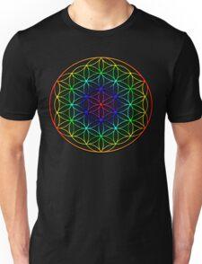 Flower of Life (rainbow) sacred geometry symbol  Unisex T-Shirt